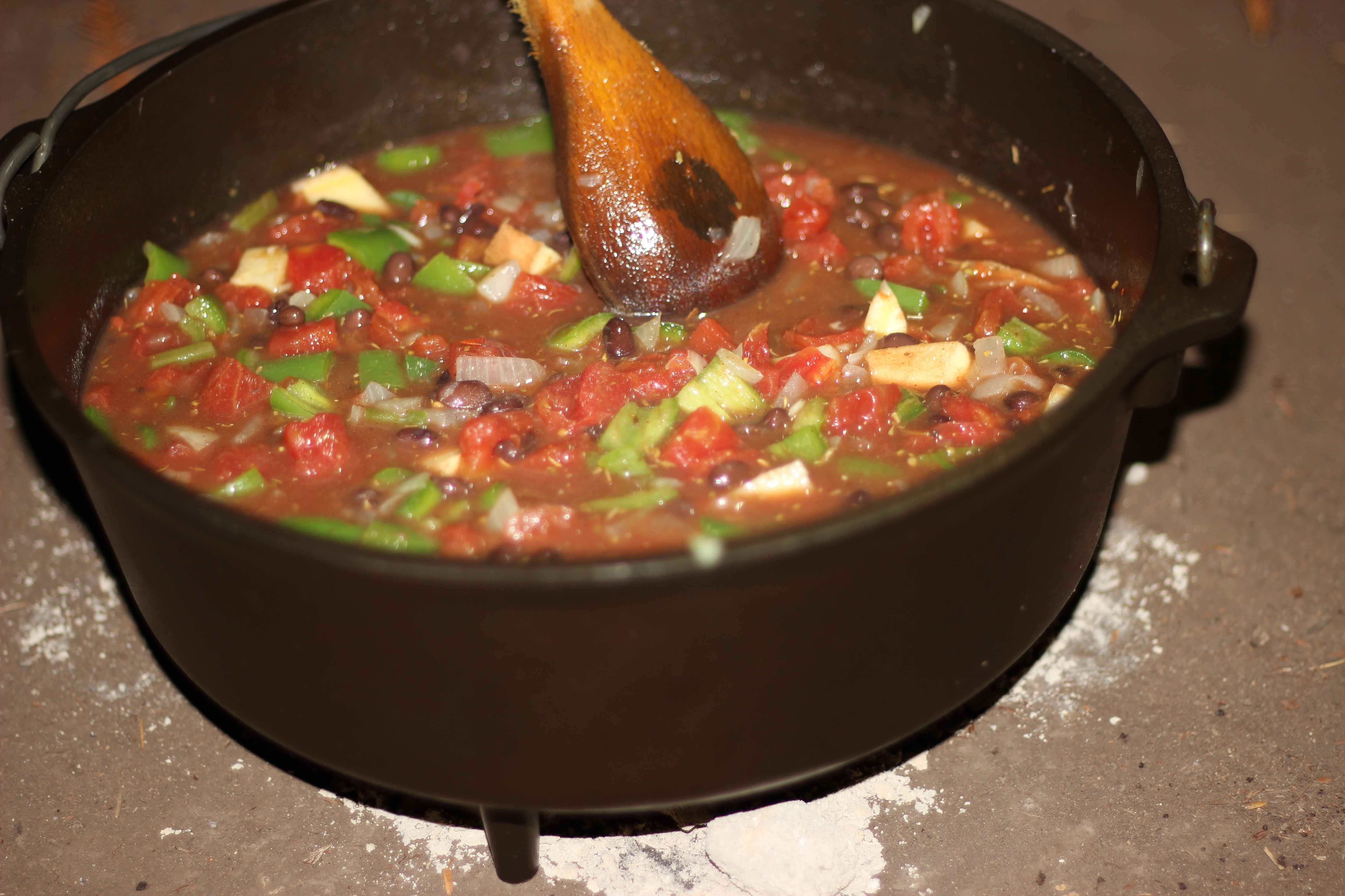 Dutch Oven Recipe: Spicy Black Bean and Sweet Potato Stew with Biscuits