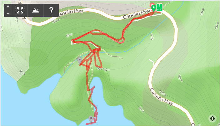 Runkeeper map Partington Cove